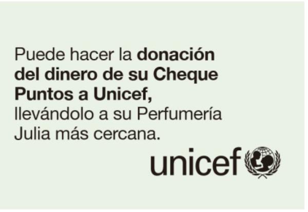 Ahora puedes ceder a Unicef los puntos obtenidos en Perfumería Júlia