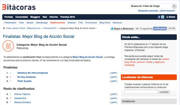 nº 6 Mejor Blog Acción Social Bitacoras